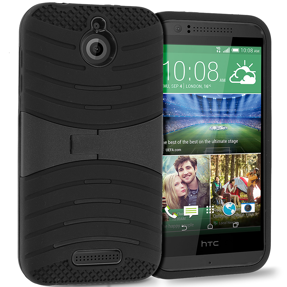 HTC Desire 510 Black / Black Hybrid Heavy Duty Shockproof Case Cover with Stand