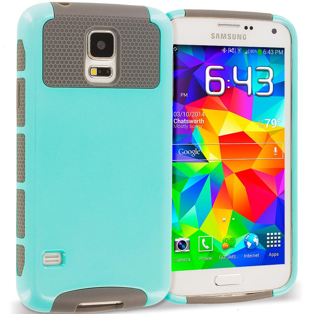 Samsung Galaxy S5 Mint / Grey Hybrid Hard TPU Honeycomb Rugged Case Cover