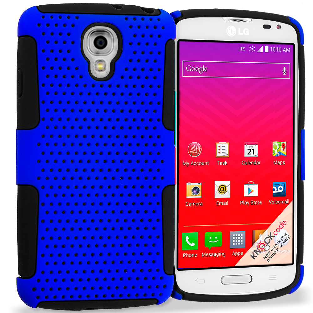 LG Volt LS740 Black / Blue Hybrid Mesh Hard/Soft Case Cover