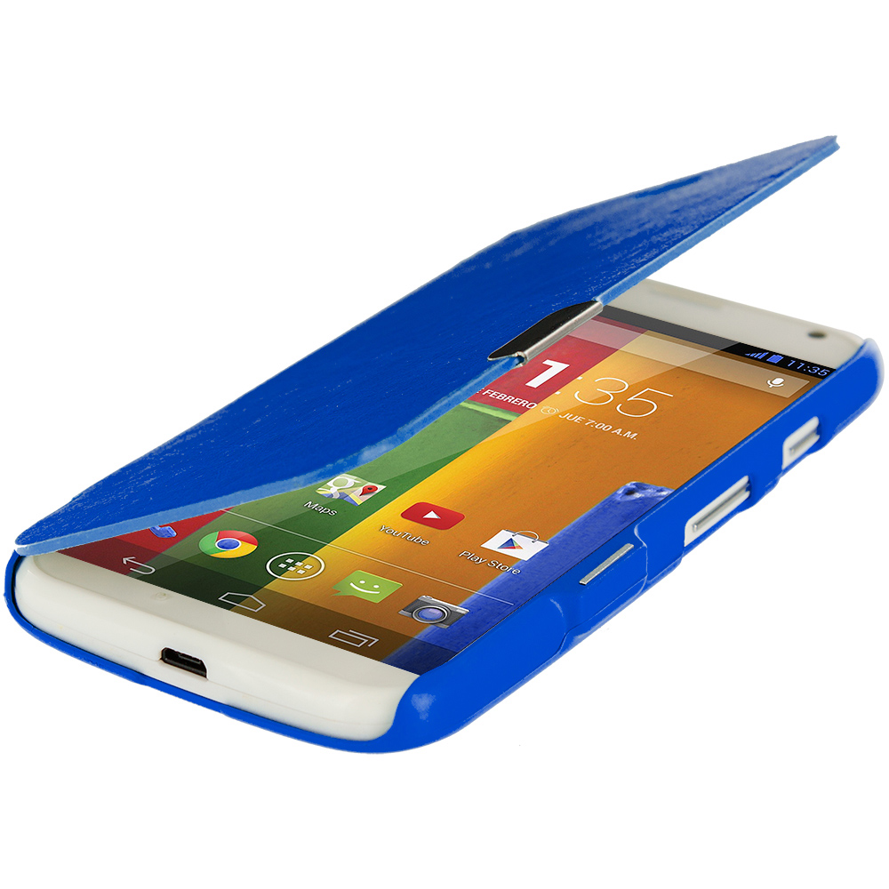 Motorola Moto G Blue Magnetic Flip Wallet Case Cover Pouch