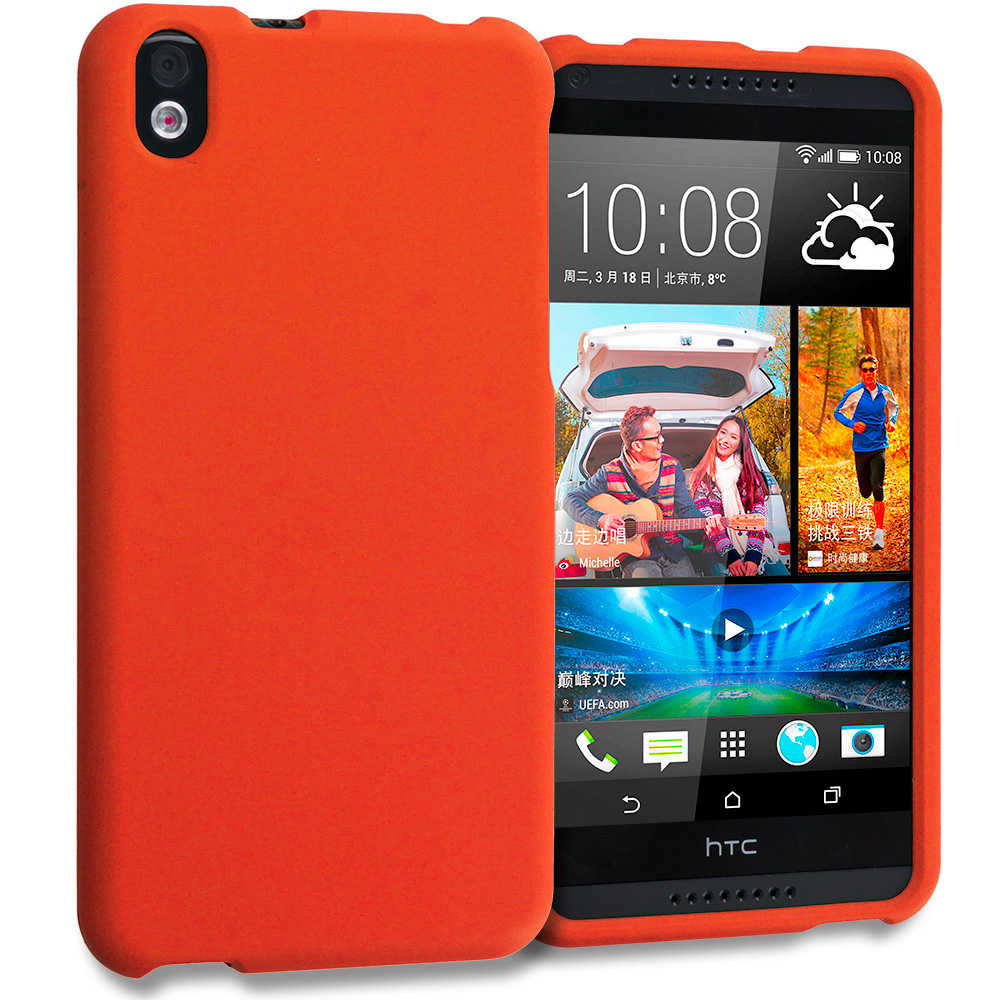 HTC Desire 816 Orange Hard Rubberized Case Cover