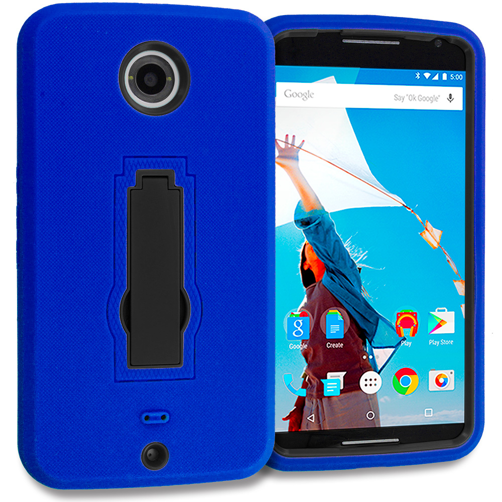 Motorola Google Nexus 6 Blue / Black Hybrid Heavy Duty Hard Soft Case Cover with Kickstand