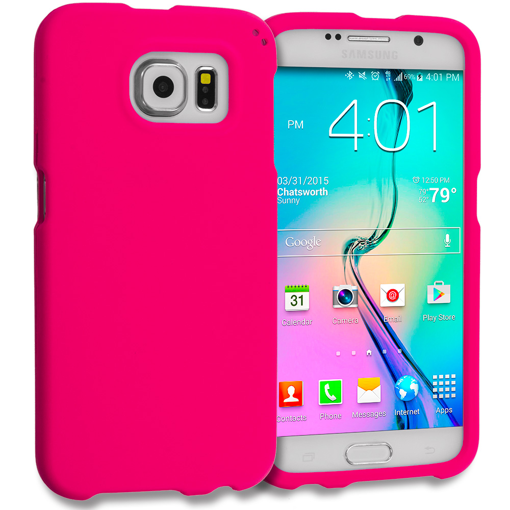 Samsung Galaxy S6 Combo Pack : Hot Pink Hard Rubberized Case Cover : Color Hot Pink