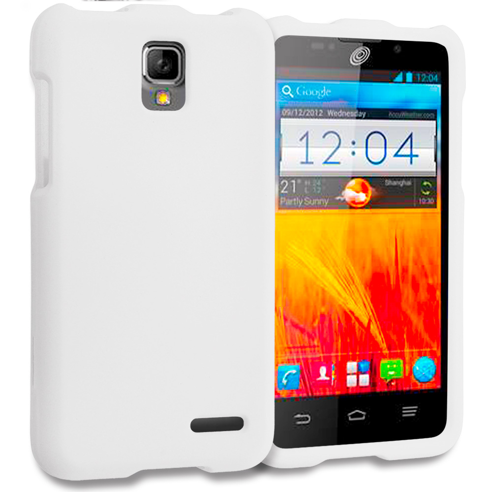 ZTE Rapido Z932C White Hard Rubberized Case Cover