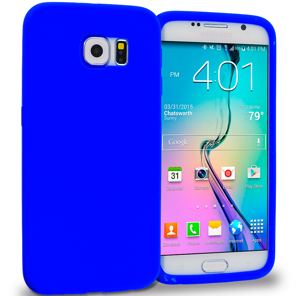 Samsung Galaxy S6 Blue Silicone Soft Skin Rubber Case Cover