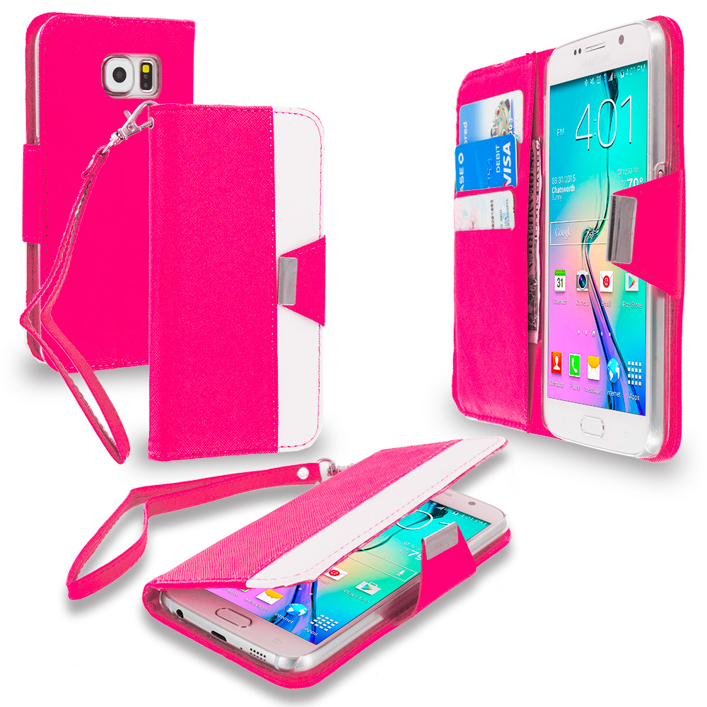 Samsung Galaxy S6 4 in 1 Combo Bundle Pack - Wallet Magnetic Metal Flap Case Cover With Card Slots : Color Hot Pink