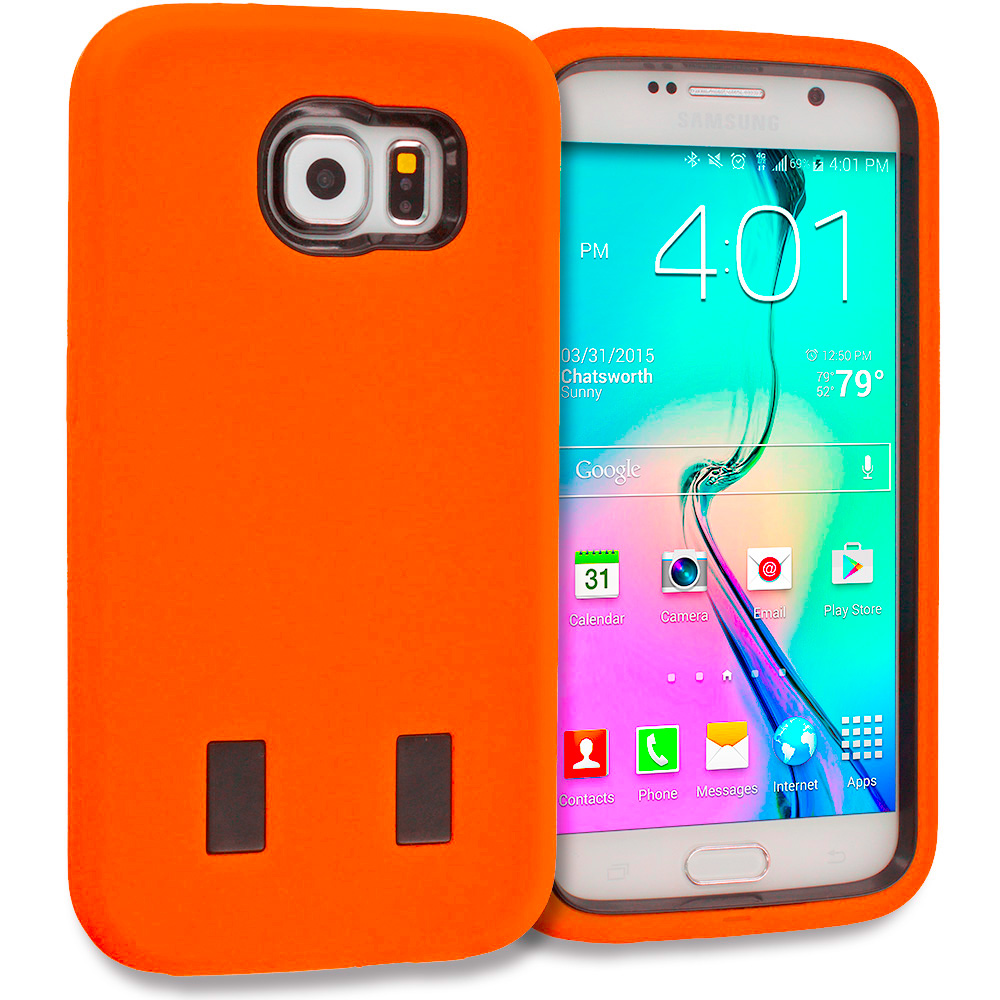 Samsung Galaxy S6 Orange / Black Hybrid Deluxe Hard/Soft Case Cover