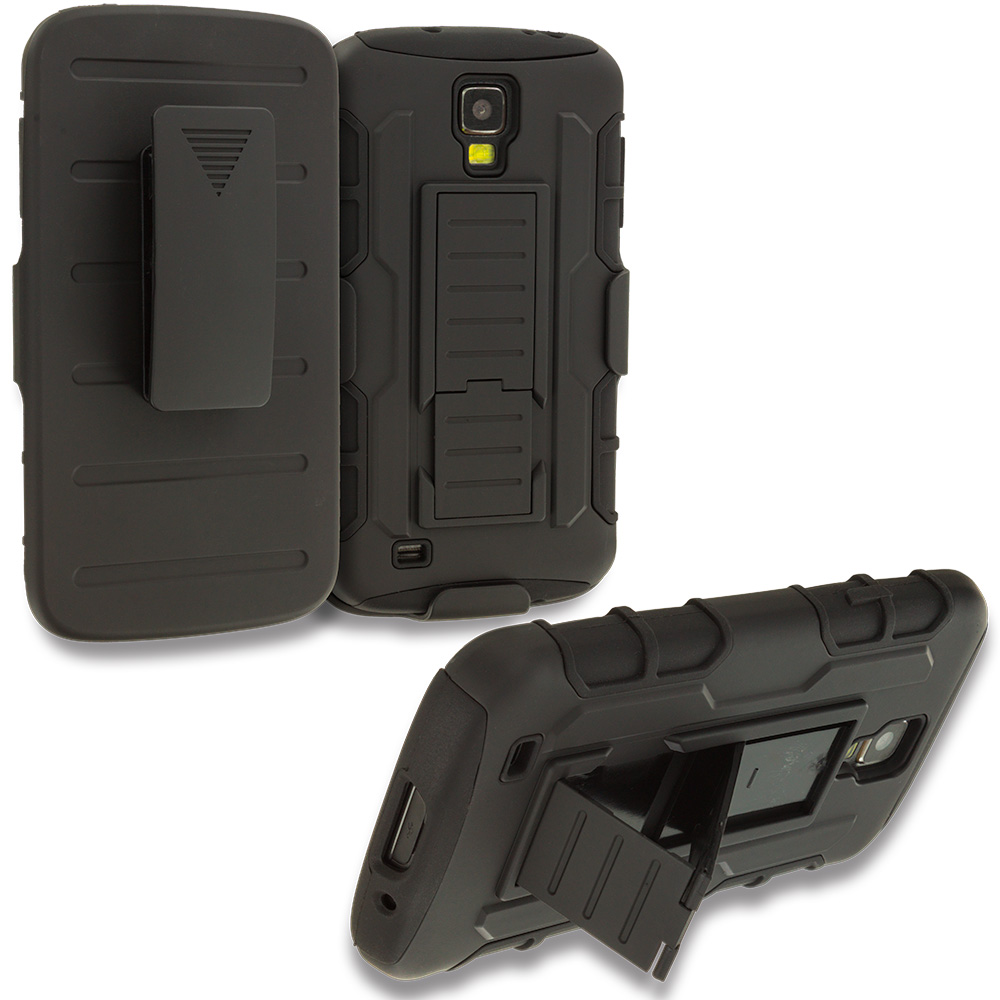 Samsung Galaxy S4 Active i537 Black Hybrid Rugged Robot Armor Heavy Duty Case Cover with Belt Clip Holster