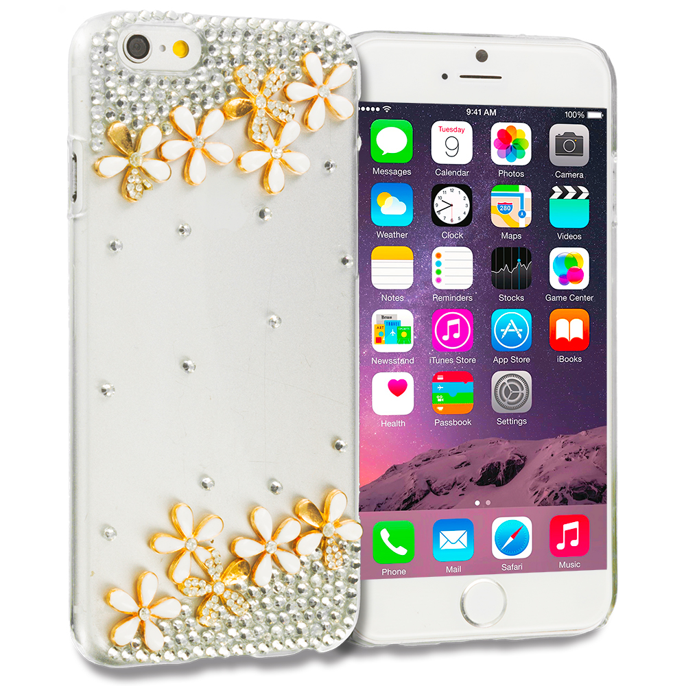 Apple iPhone 6 6S (4.7) Flower Daisy Bling Rhinestone Case Cover