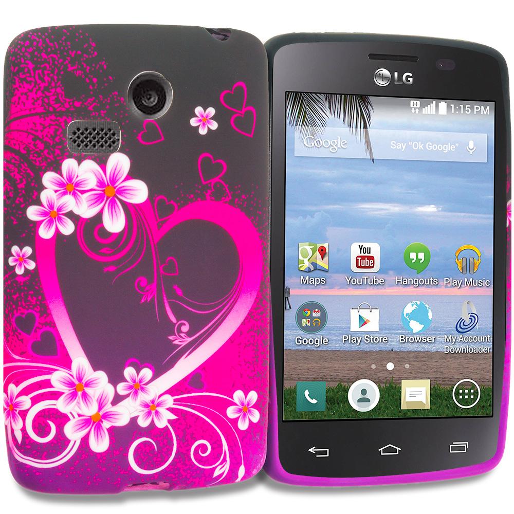 LG Sunrise Lucky L15G L16C Purple Love TPU Design Soft Rubber Case Cover
