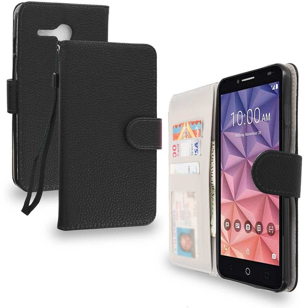 Alcatel OneTouch Fierce XL Black Leather Wallet Pouch Case Cover with Slots
