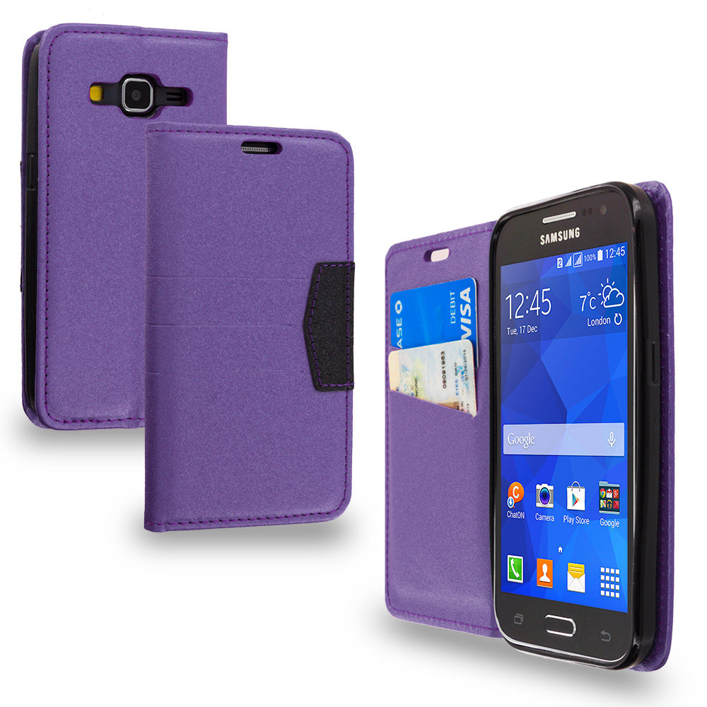 Samsung Galaxy Prevail LTE Core Prime G360P Purple Wallet Flip Leather Pouch Case Cover with ID Card Slots