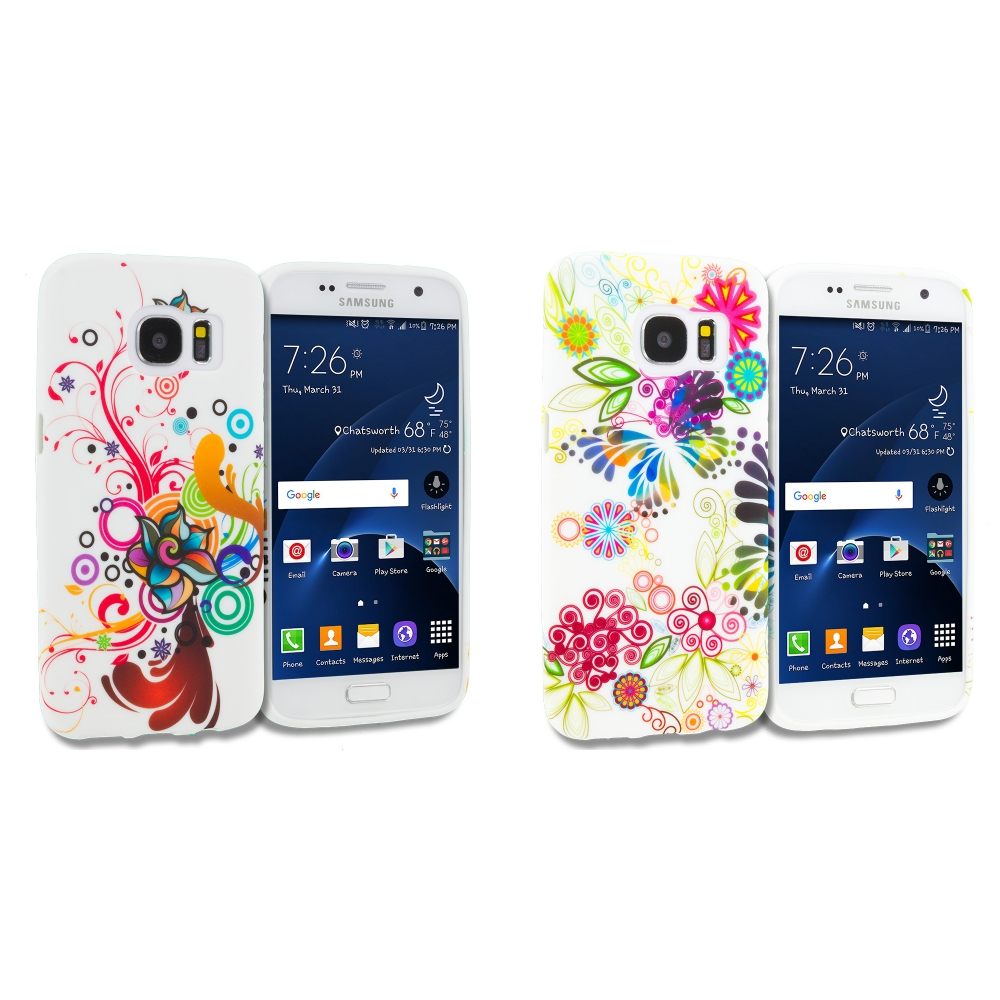 Samsung Galaxy S7 Combo Pack : Autumn Flower TPU Design Soft Rubber Case Cover
