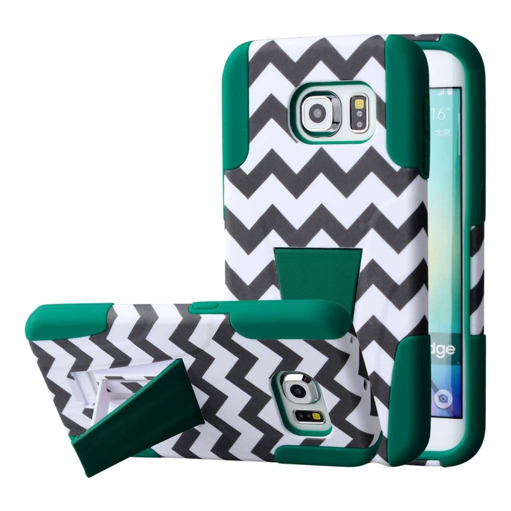 Samsung Galaxy S6 Edge - Teal Chevron MPERO IMPACT X - Kickstand Case Cover