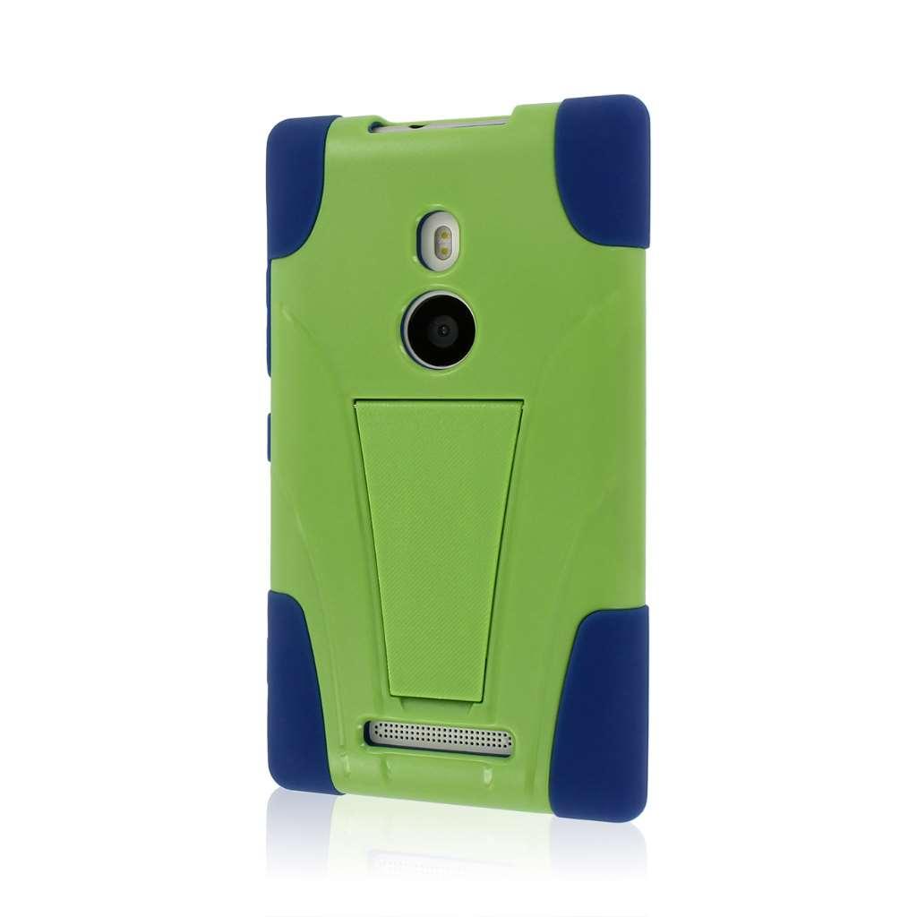 Nokia Lumia 925 - Blue / Green MPERO IMPACT X - Kickstand Case Cover