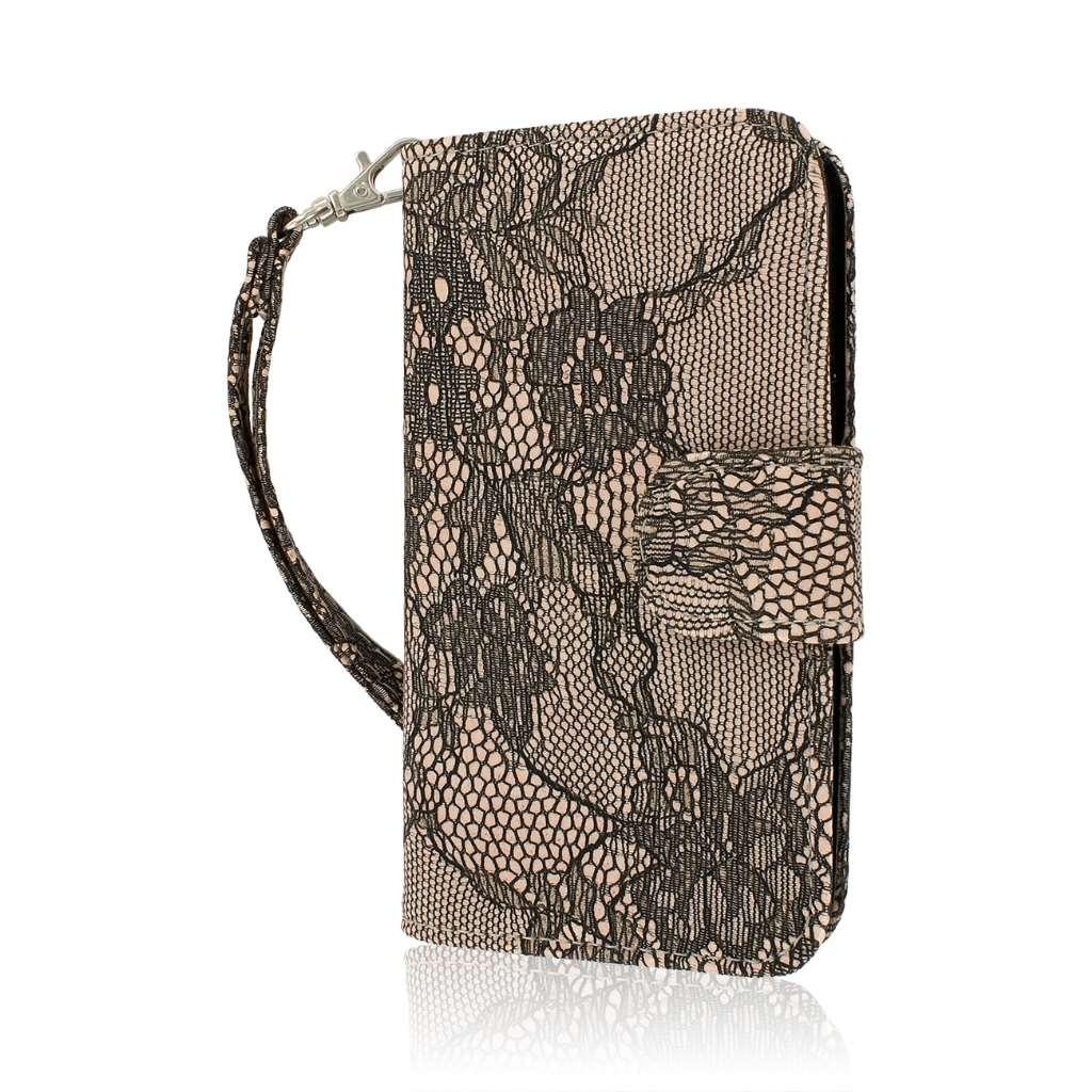 LG G2 Mini - Black Lace MPERO FLEX FLIP Wallet Case Cover