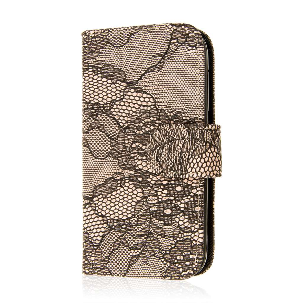 Alcatel OneTouch Fierce 2 - Black Lace MPERO FLEX FLIP Wallet Case Cover