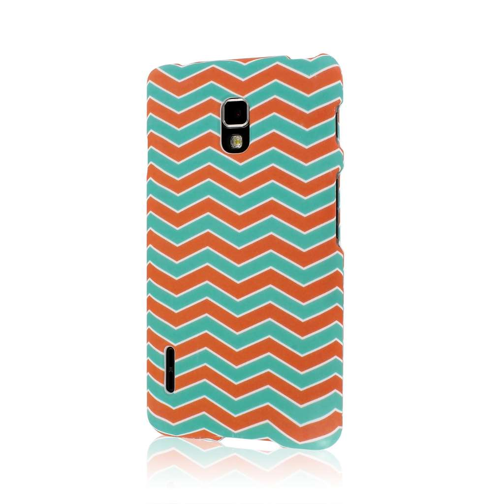 LG Optimus F7 - Mint Chevron MPERO SNAPZ - Rubberized Case Cover