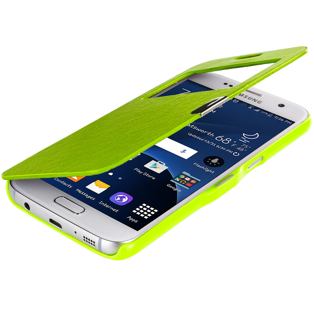 Samsung Galaxy S7 Combo Pack : Neon Green With Window Magnetic Flip Wallet Case Cover Pouch : Color Neon Green With Window