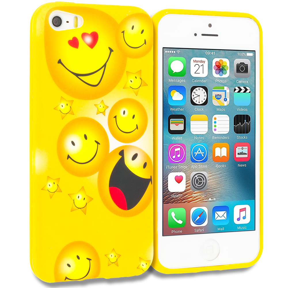 Apple iPhone 5/5S/SE Smiley Face TPU Design Soft Rubber Case Cover