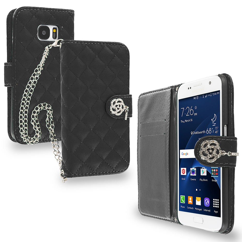 Samsung Galaxy S7 Edge Black Luxury Wallet Diamond Metal Chain Plaid Case Cover With Slots