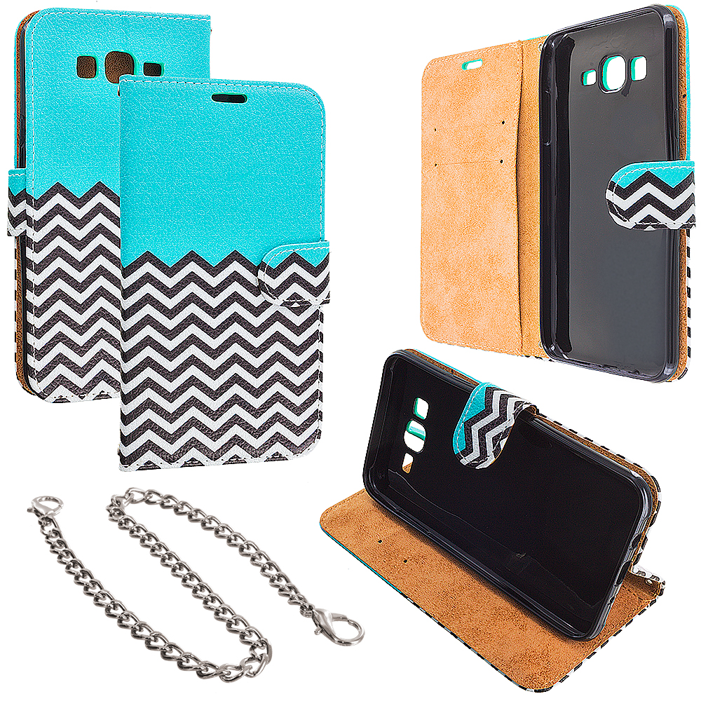 Samsung Galaxy J7 Mint Green Zebra Design Wallet Flip Pouch Case Cover with Credit Card ID Slots