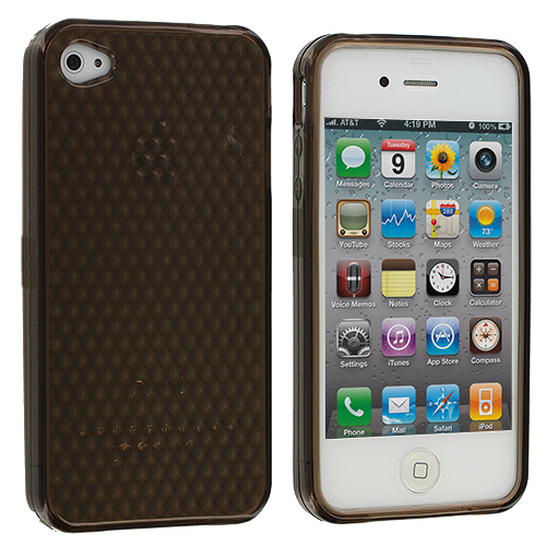 Apple iPhone 4 / 4S Smoke Diamond TPU Rubber Skin Case Cover