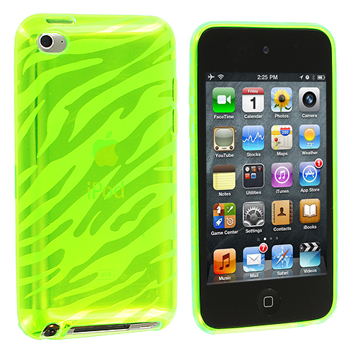 Apple iPod Touch 4th Generation Green Zebra TPU Rubber Skin Case Cover