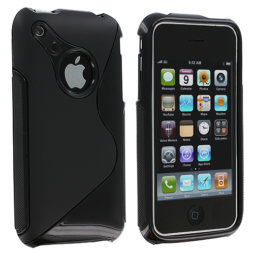 Apple iPhone 3G / 3GS Black S-Line TPU Rubber Skin Case Cover