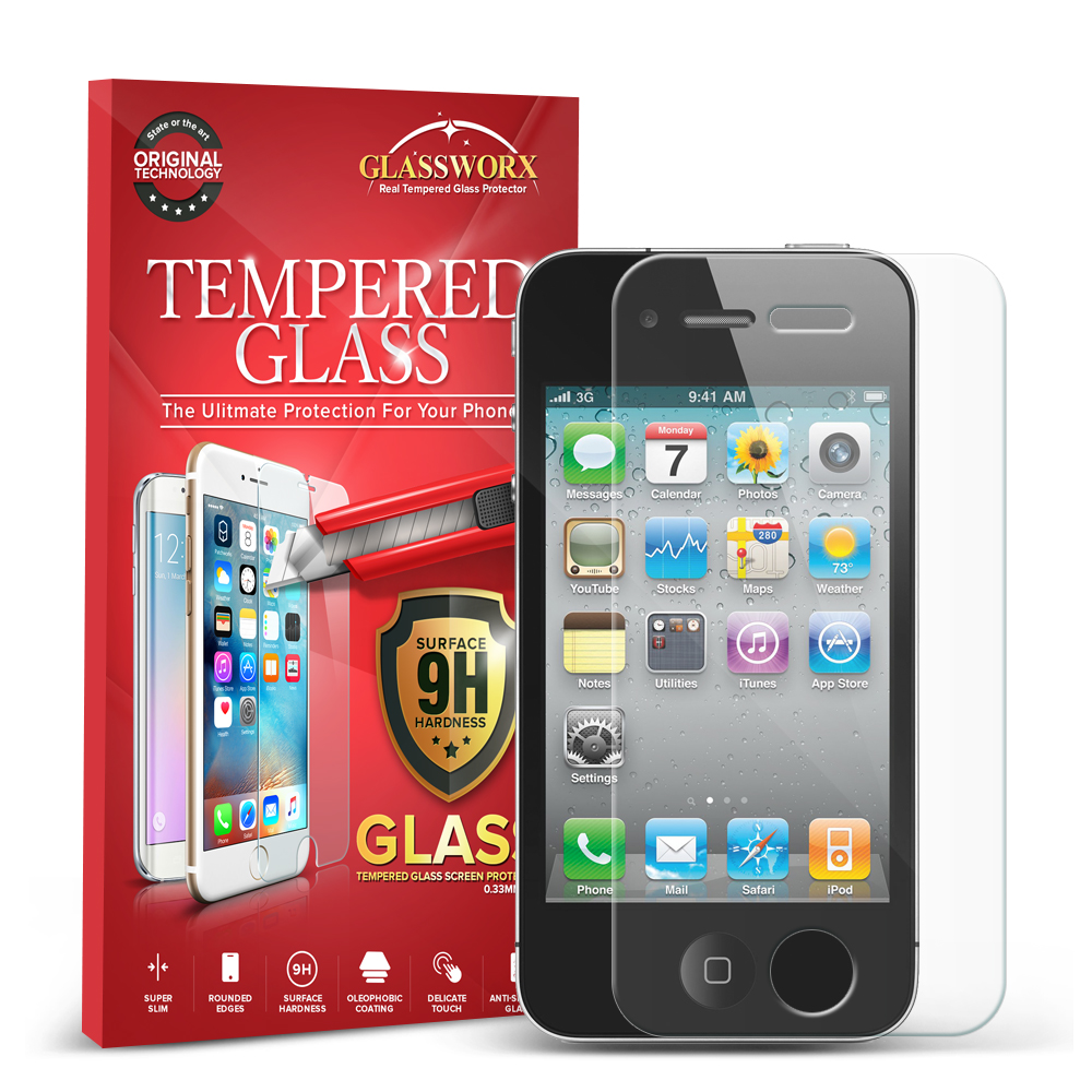 Apple iPhone 4 / 4S GlassWorX HD Clear Tempered Glass Screen Protector
