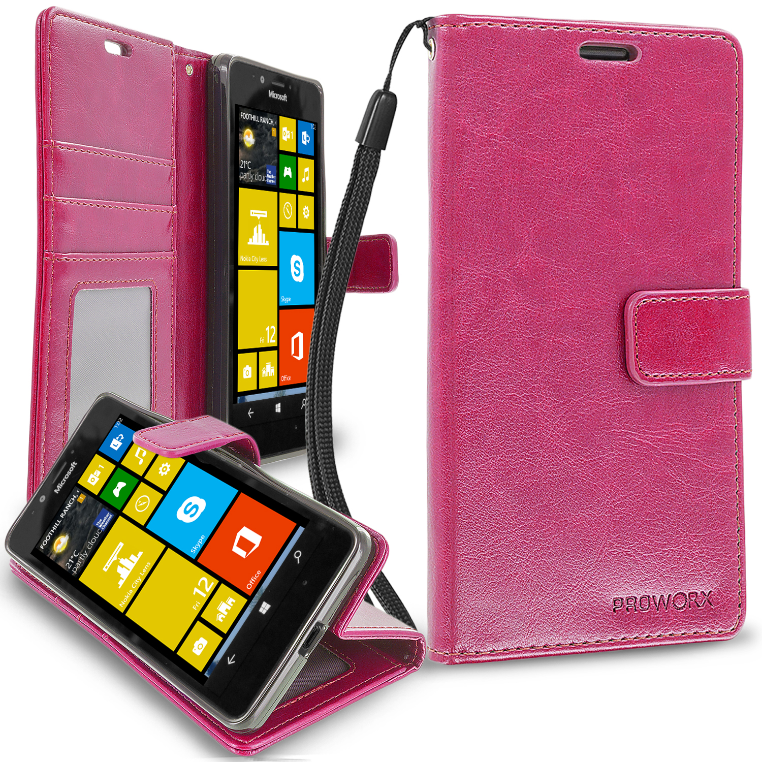 Microsoft Lumia 950 Hot Pink ProWorx Wallet Case Luxury PU Leather Case Cover With Card Slots & Stand