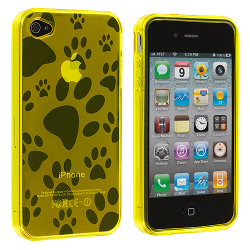 Apple iPhone 4 / 4S Yellow Dog Paw TPU Rubber Skin Case Cover