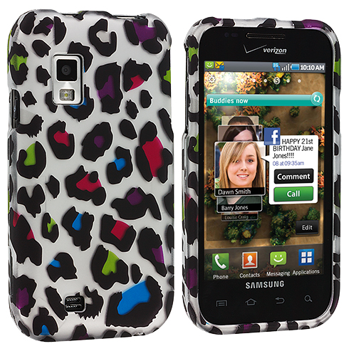 Samsung Fascinate i500 Colorful Leopard Hard Rubberized Design Case Cover