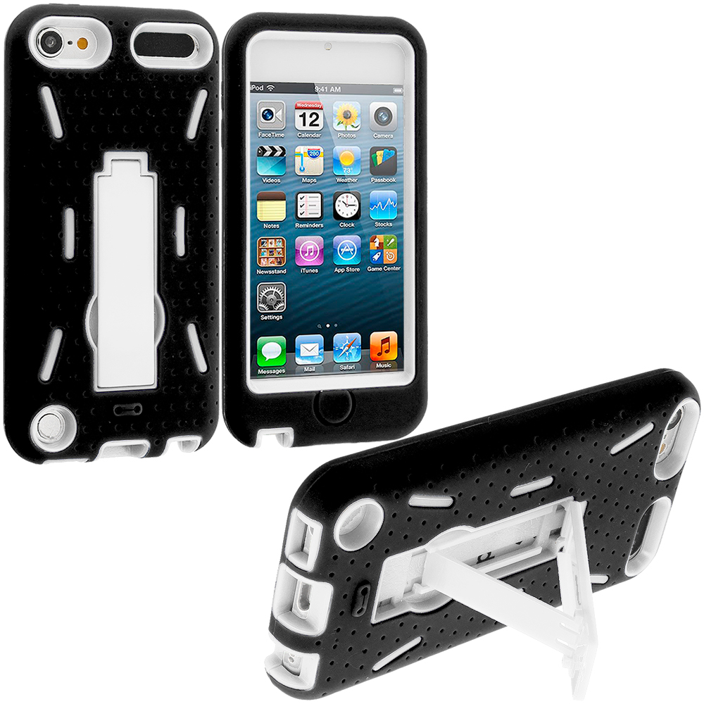 Apple iPod Touch 5th 6th Generation Black / White Hybrid Heavy Duty Hard/Soft Case Cover with Stand