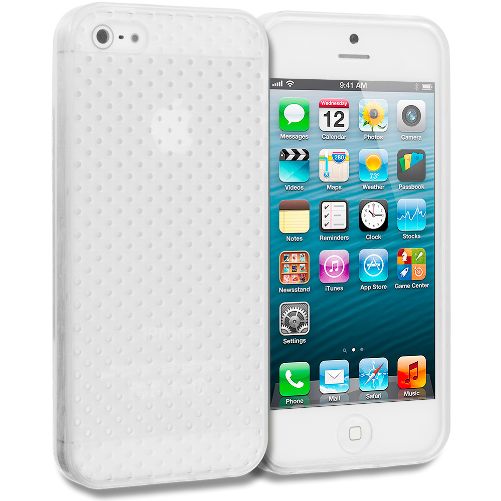 Apple iPhone 5/5S/SE 2 in 1 Combo Bundle Pack - Clear Mesh TPU Rubber Skin Case Cover : Color Clear Mesh