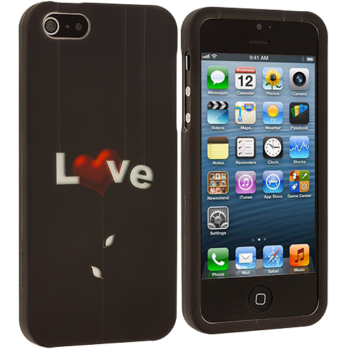 Apple iPhone 5 Love Letter on Black Hard Rubberized Design Case Cover