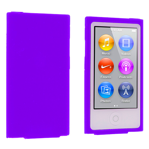 Apple iPod Nano 7th Generation Purple Silicone Soft Skin Case Cover