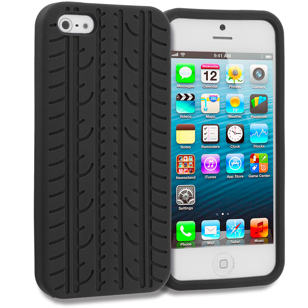 Apple iPhone 5/5S/SE Combo Pack : Black Tire Silicone Soft Skin Case Cover : Color Black Tire