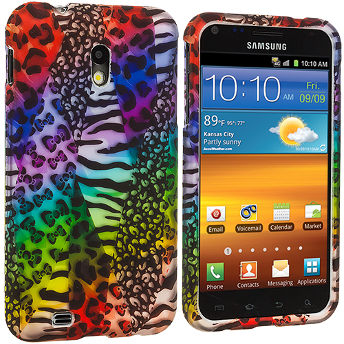 Samsung Epic Touch 4G D710 Sprint Galaxy S2 Rainbow Safari Hard Rubberized Design Case Cover