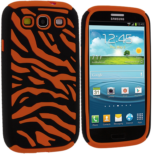 Samsung Galaxy S3 Black / Orange Hybrid Zebra Hard/Soft Case Cover