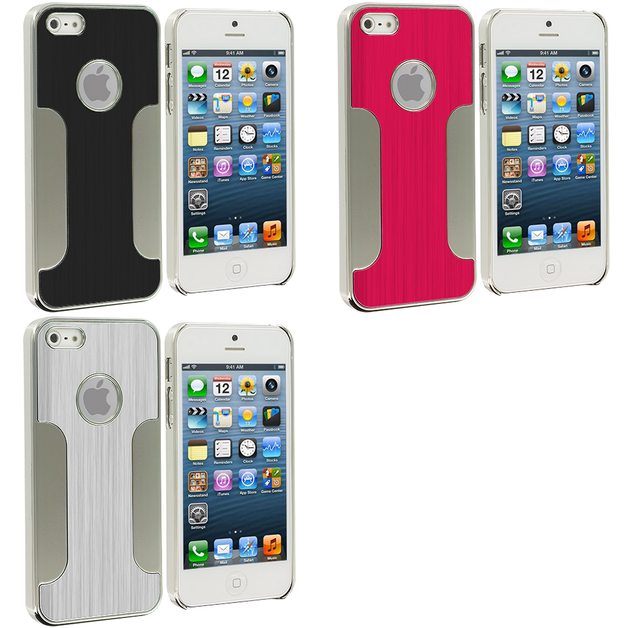Apple iPhone 5/5S/SE Combo Pack : Black Brushed Metal Aluminum Metal Hard Case Cover