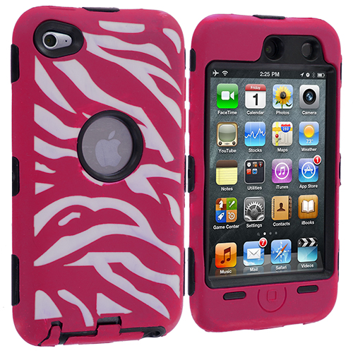 Apple iPod Touch 4th Generation Black / Hot Pink Zebra Hybrid Deluxe Hard/Soft Case Cover