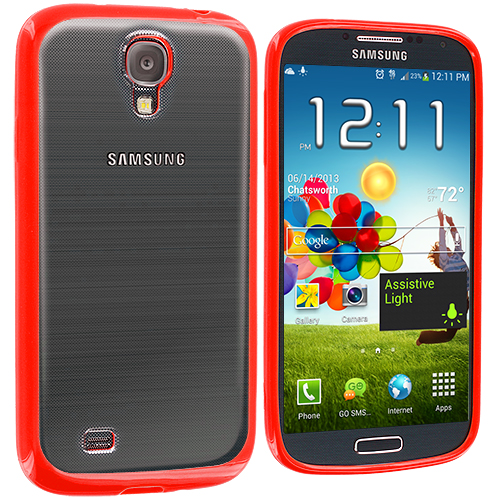 Samsung Galaxy S4 Red TPU Plastic Hybrid Case Cover