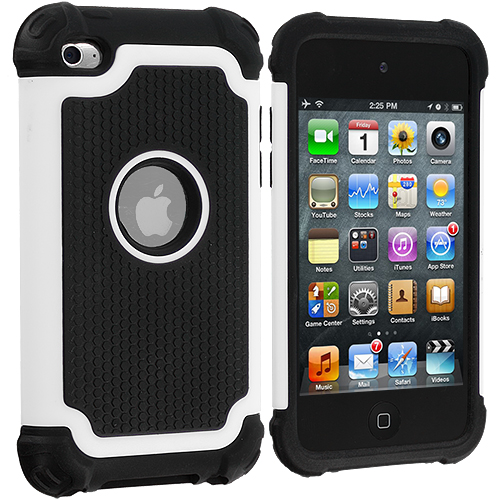 Apple iPod Touch 4th Generation White Hybrid Rugged Hard/Soft Case Cover