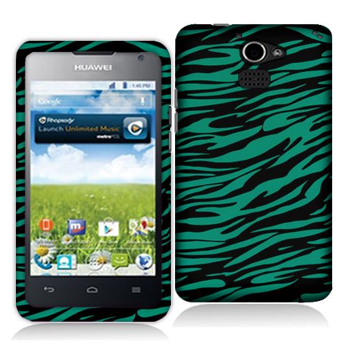 Huawei Premia 4G Black / Baby Blue Zebra Hard Rubberized Design Case Cover