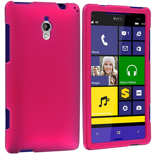 HTC 8XT Hot Pink Hard Rubberized Case Cover