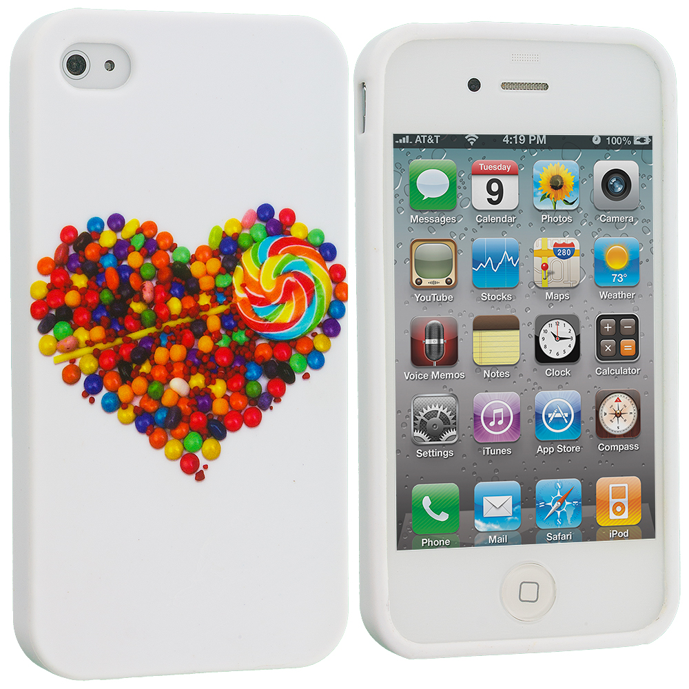 Apple iPhone 4 / 4S Candy Hearts TPU Design Soft Case Cover