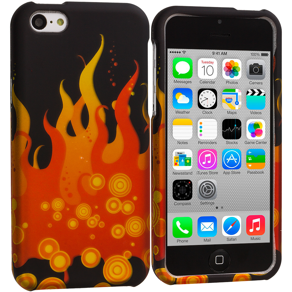 Apple iPhone 5C Flame Hard Rubberized Design Case Cover