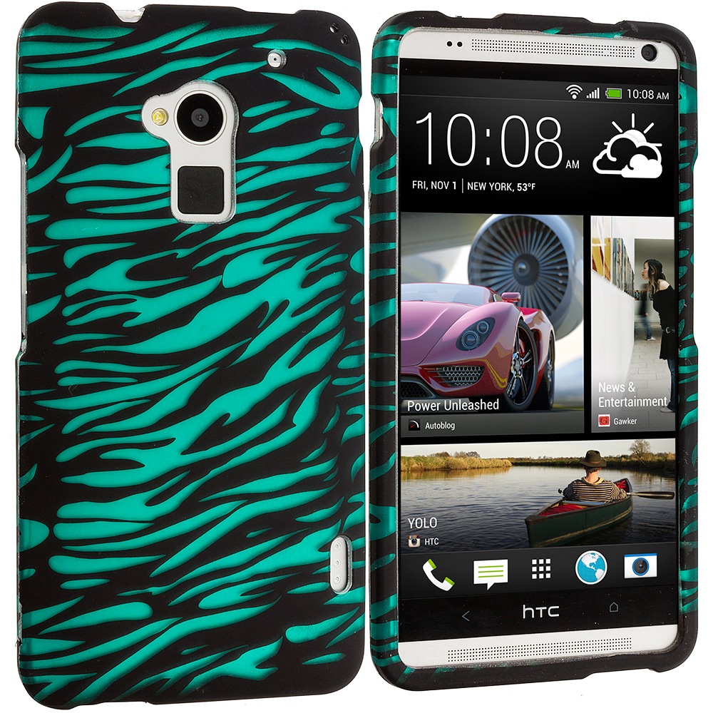HTC One Max Black/Baby Blue Zebra Hard Rubberized Design Case Cover
