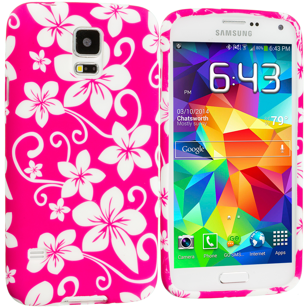Samsung Galaxy S5 Pink Hawaii Flower TPU Design Soft Case Cover